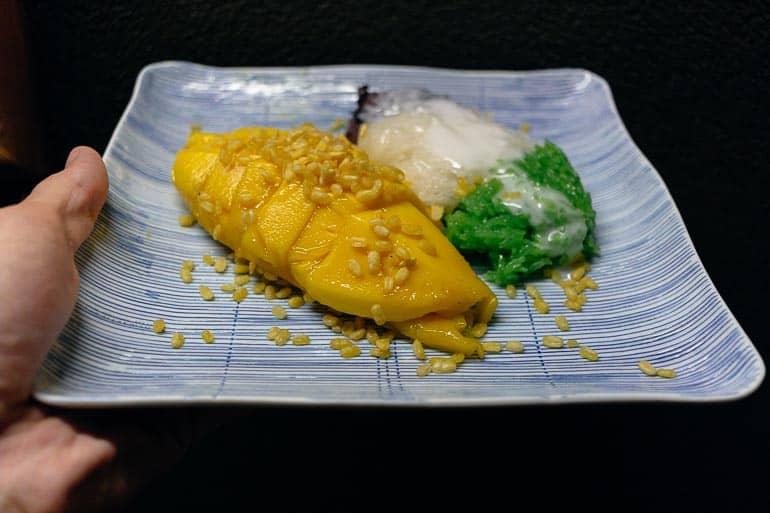 Thai dessert called mango sticky rice