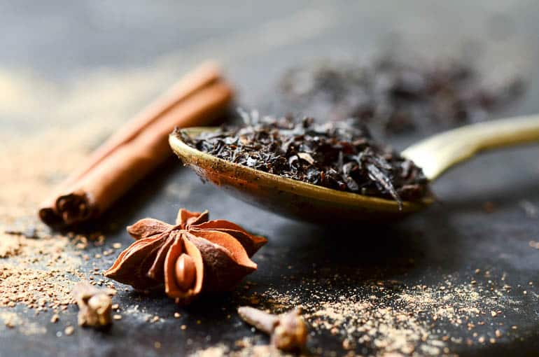 Cinnamon cloves and black tea to make masala chai from India