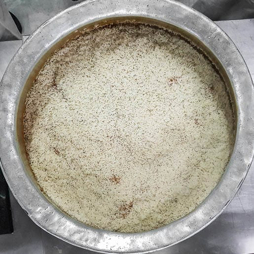 hyderabadi biryani cook the rice in layers