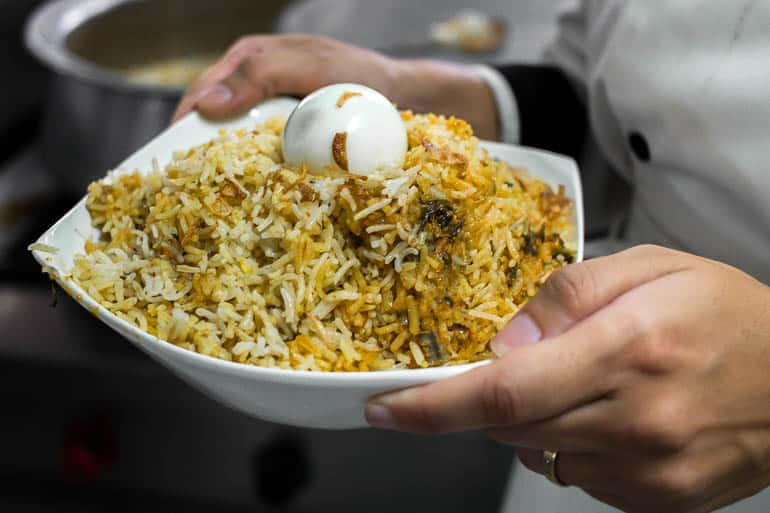hyderabadi biryani with egg