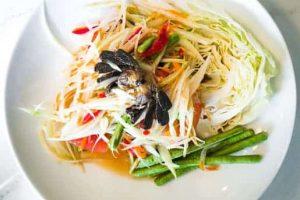 salada de mamão verde da Tailândia e Laos