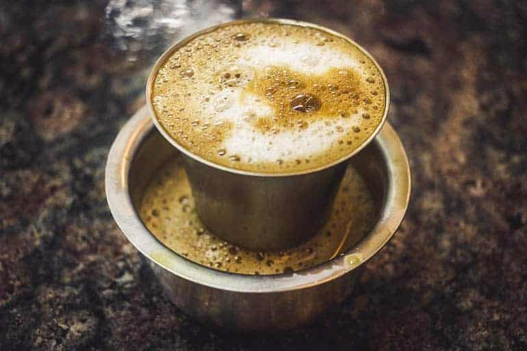 indian filter coffee or filter kaapi in the dabarah