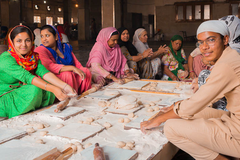 people making bread in the kitchen of the Golden Temple in Amritsar