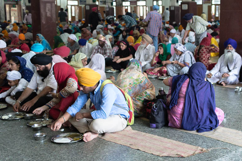 People eating at the Golden Temple in Amritsar