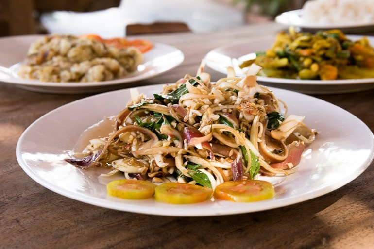 khmer salad with sliced banana flower