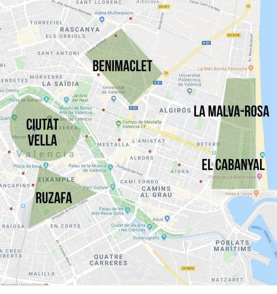 a map showing the location of different neighbourhoods for people who want to travel to Valencia