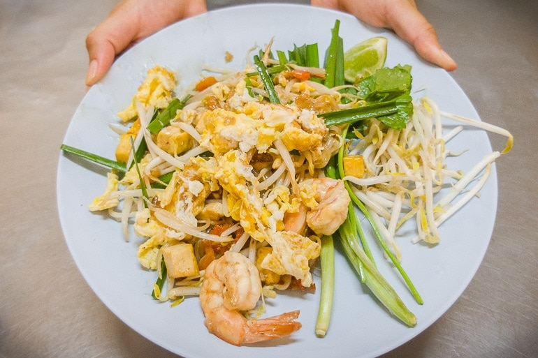 A plate with Pad Thai, one of the most famous Thai dishes