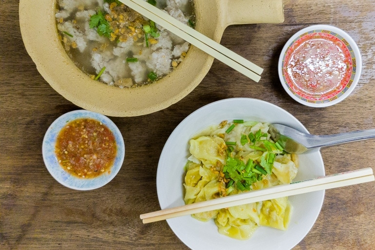 Wonton in soup and dry, Thai food with Chinese influence