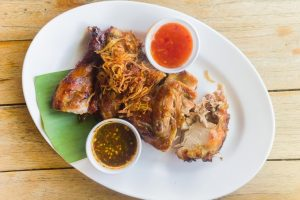 Grilled chicken is very famous in the city of Chiang Mai