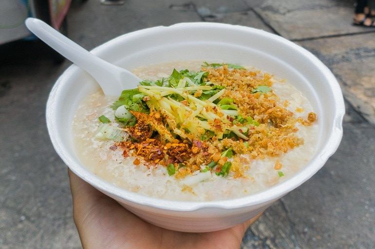 A bowl with Jok, rice porridge widely consumed in the mornings in Thailand