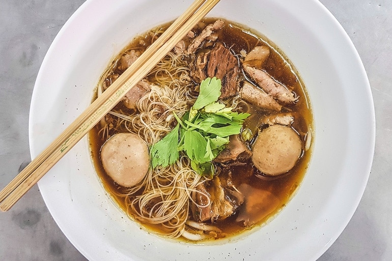 A bowl of Kuay Teow Neua, beef noodle soup popular in Bangkok
