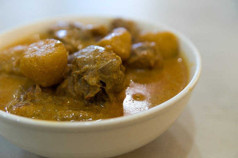 Massaman Curry made with a mix of indian and thai spices is one of the typical Thai curry dishes that we like the most.