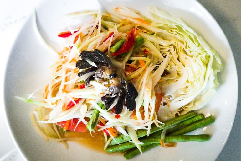 a plate with green papaya salad, one of the most famous thai salad