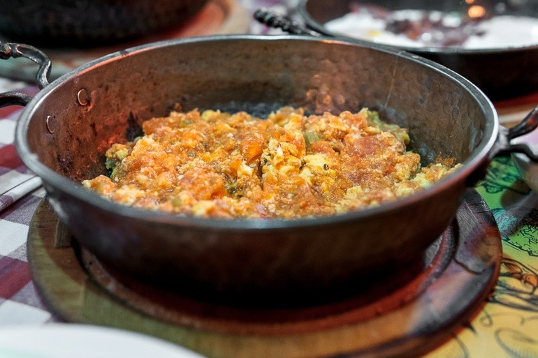 A pan with menemen, turkish scrambled eggs (Recipe)