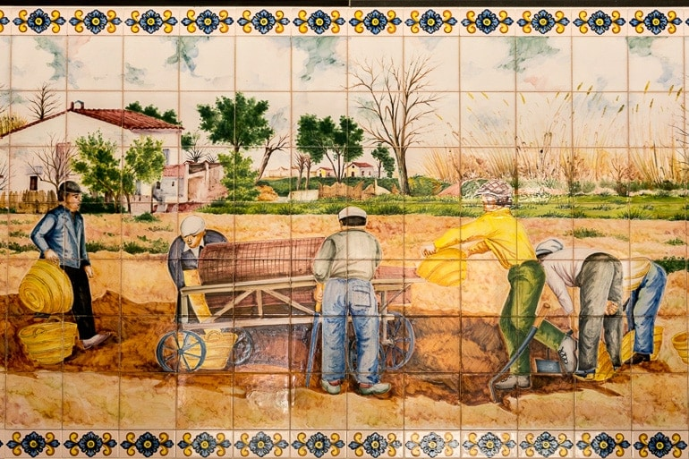 tiles representing harvesting and production of Horchata