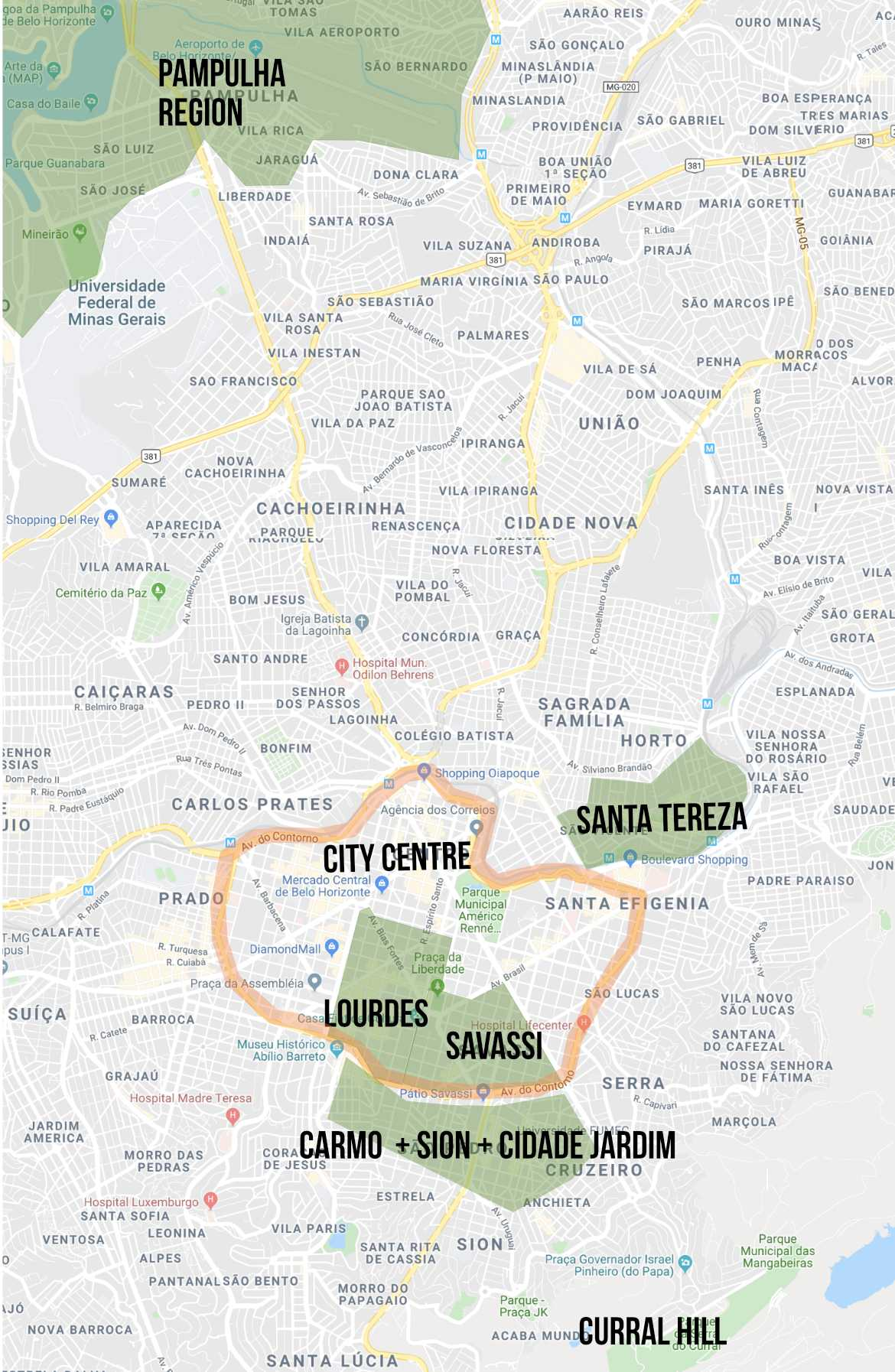 Map featuring the best neighbourhoods to stay in Belo Horizonte