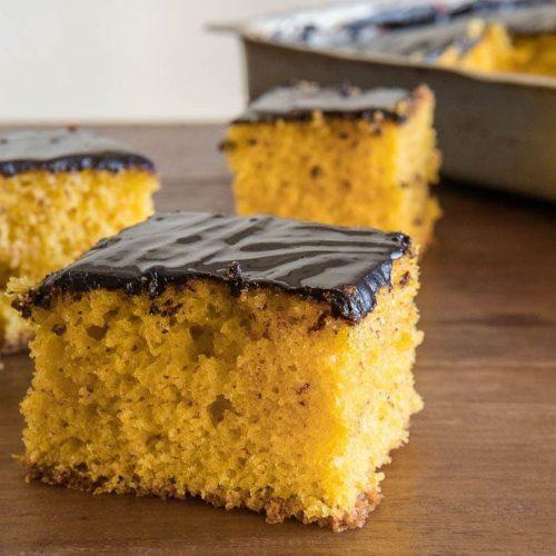 Brazilian carrot cake sliced into pieces