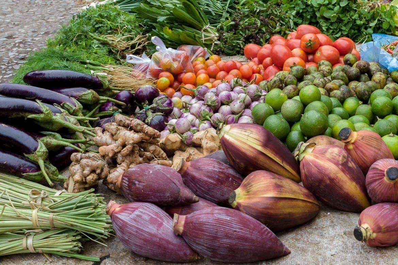 Fresh veggies in Laos local market