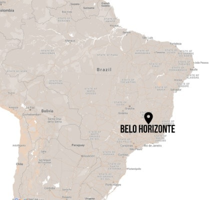 Map pinning Belo Horizonte in Brasil to illustrating the Travel Guide to Belo Horizonte