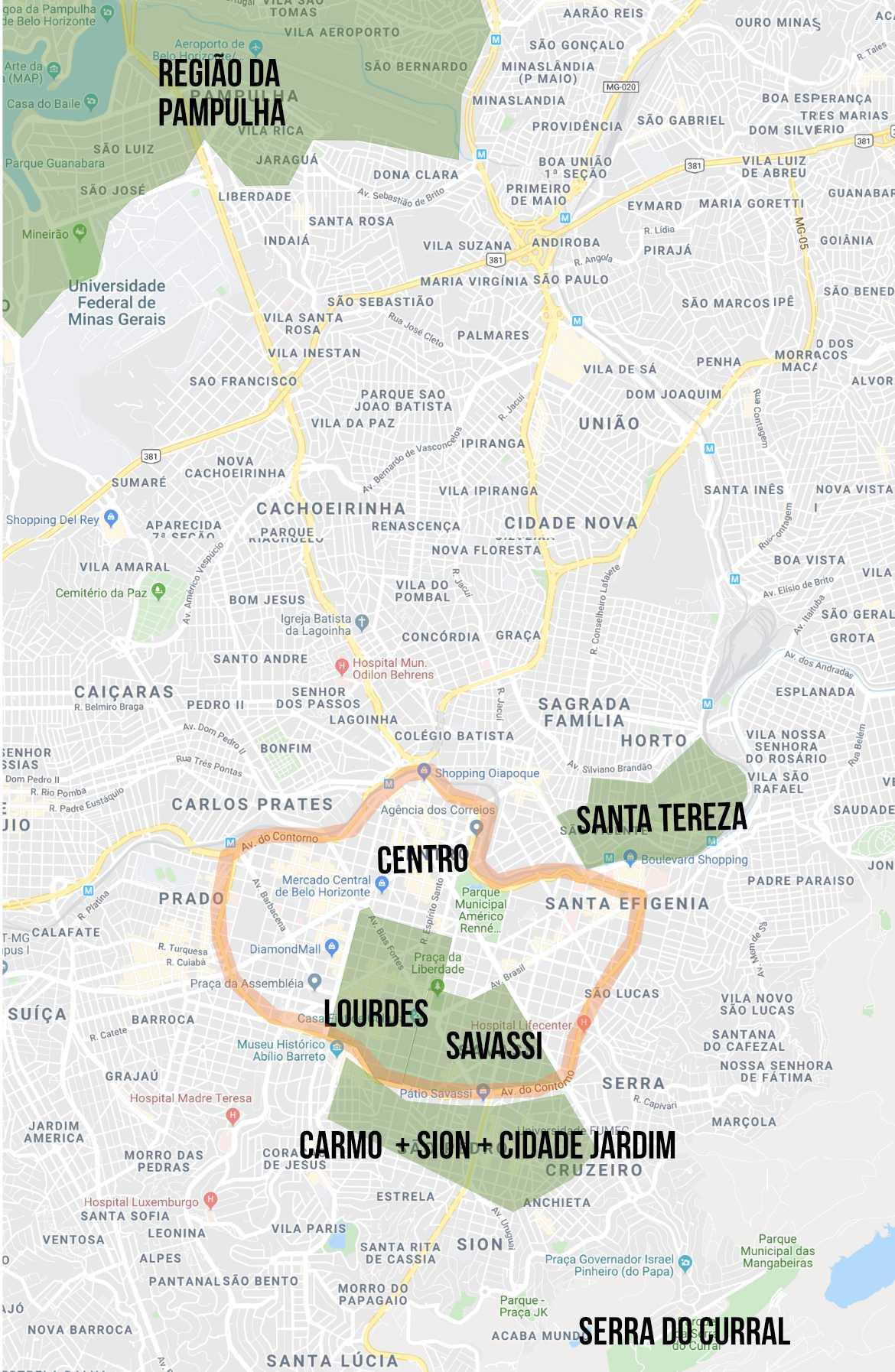 Mapa destacando os melhores bairros para ficar em BH