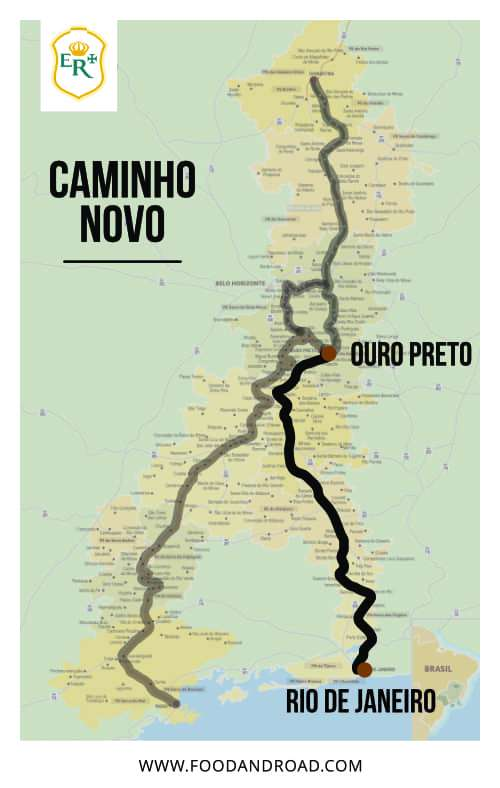 caminho novo path in the map of estrada real, the brazilian royal road