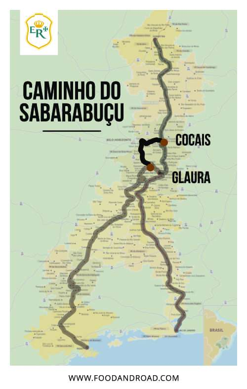 caminho do sabarabuçu path in the map of estrada real, the brazilian royal road