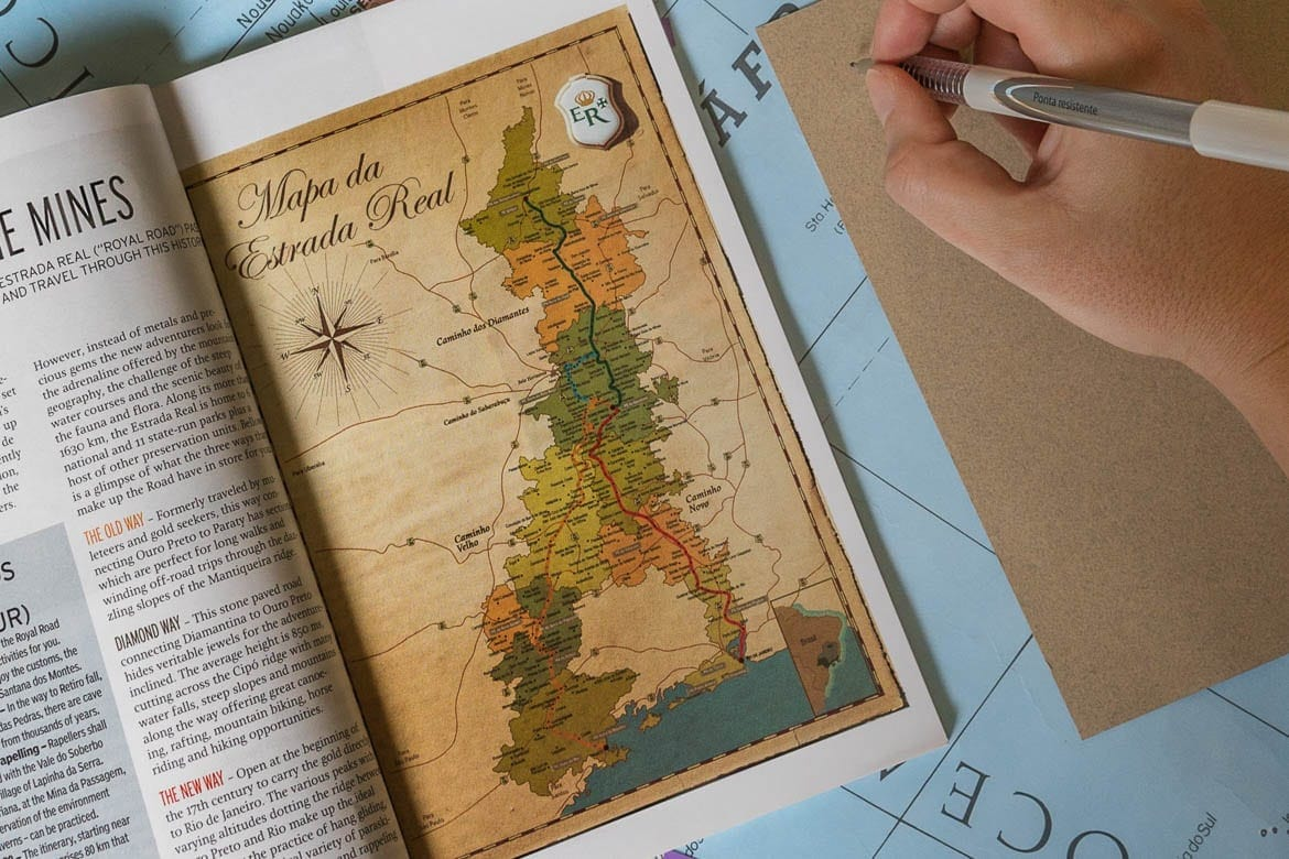 travel guide and map to help travelling through the Brazilian Royal Road