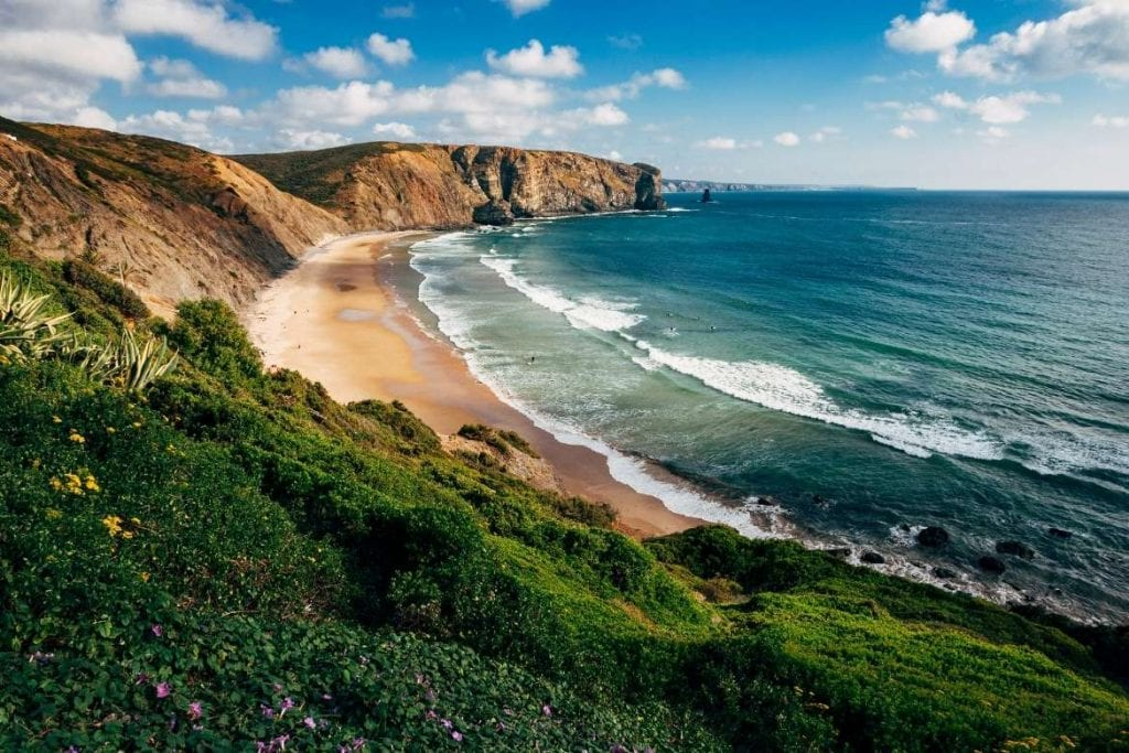 beach in Aljezur in the algarve with the view from the hill
