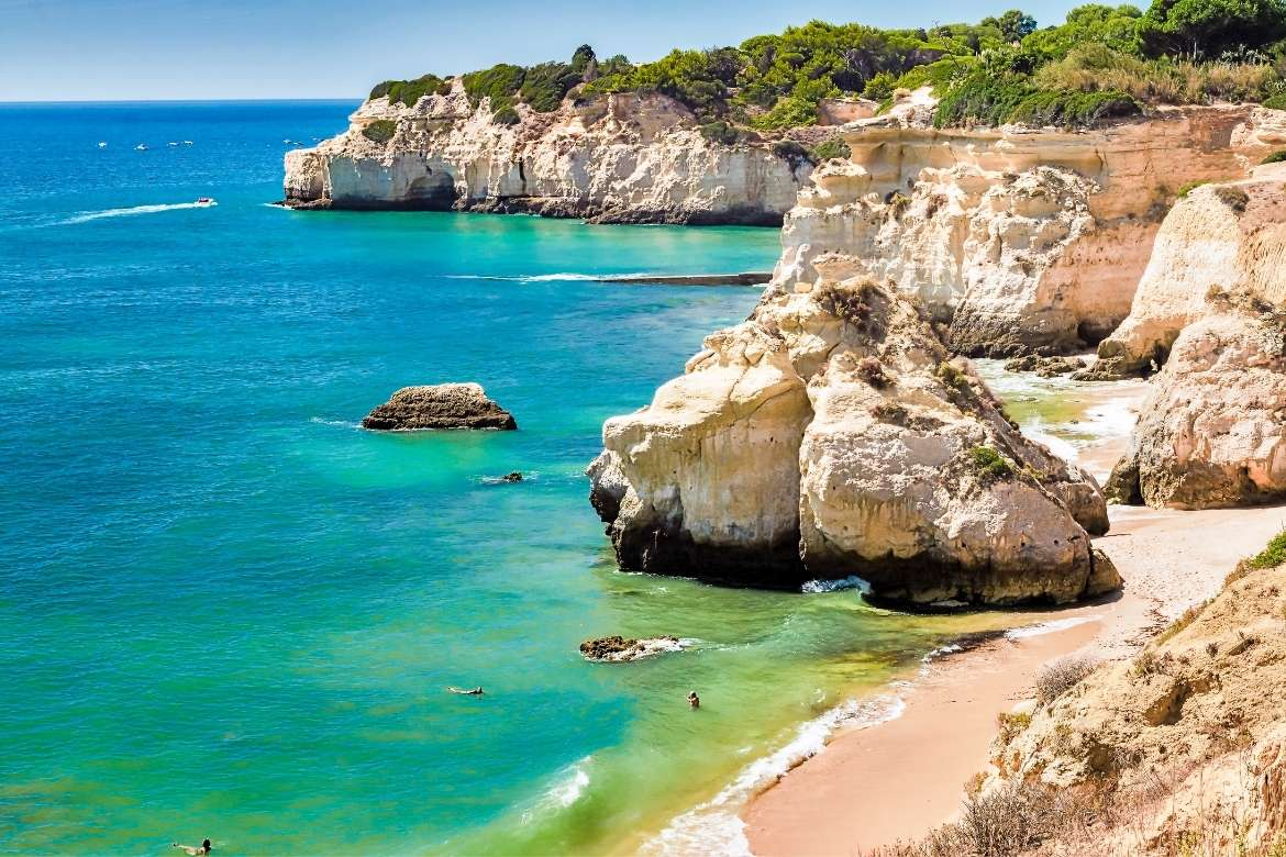 top view of the Valo do Olival beach in Armação de Pera a beautiful place to visit in the Algarve