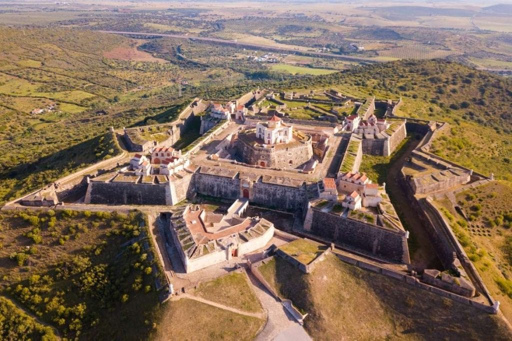 aerial view of the most famous fort located in Elvas city in Alentejo near, with a star shape within medieval walls a must-see tourist place in one of the best cities to visit in the in Alentejo north region