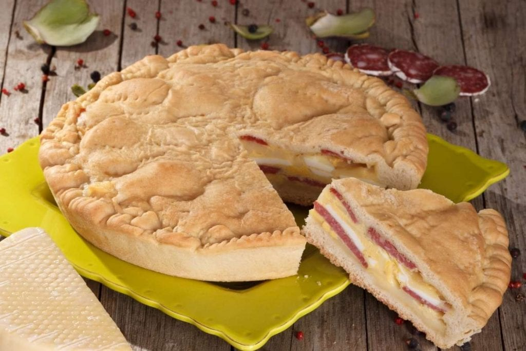 Pizza Chiena, typical Easter food from Italy made with cured meat, cheese and egg