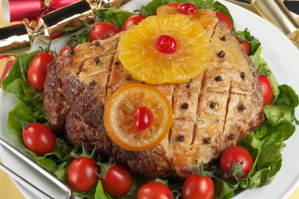 roasted ham with pineapple serve at american easter