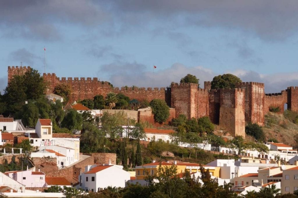 external view of the Silves Castles in the Algarve south region of Portugal
