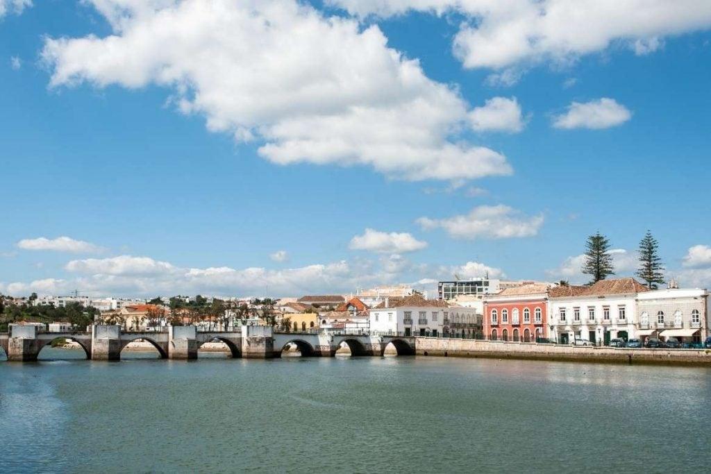 Roman Bridge in the city of Tavira, Algarve south of Portugal