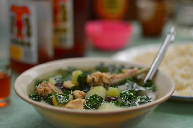 a bowl with chicken tinola soup from the Philippines