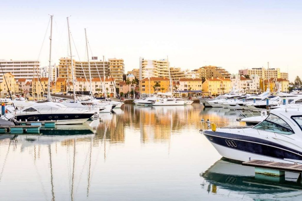 Vilamoura Marina with several boats and buildings in the background