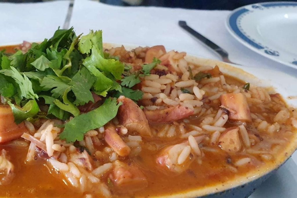 plate with octopus rice, a very popular portuguese food