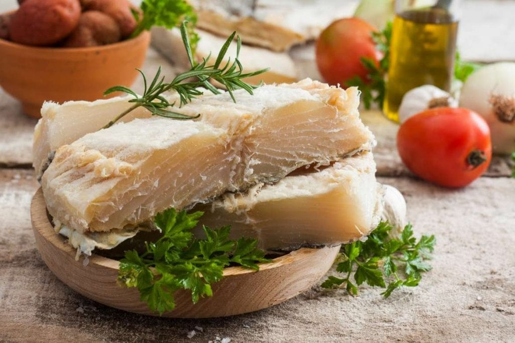 codfish ready to cook for a traditional portuguese dish