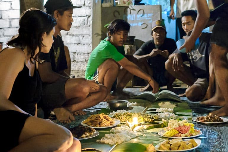 Banana leaf used as table towel in a dinner with locals in Indonesia