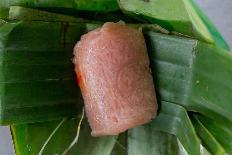 Banana leaf used to ferment pork meat in Vietnam