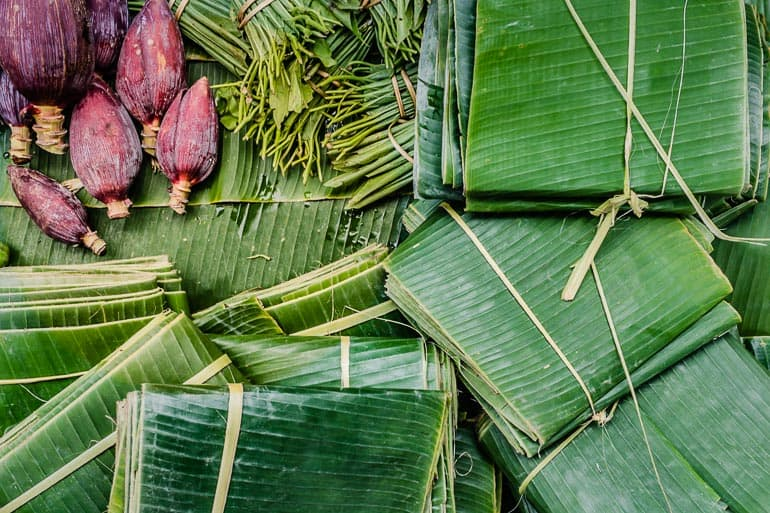 Banana leaf package sold at the local market