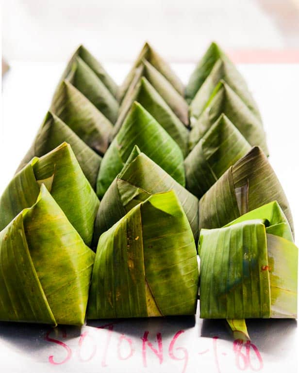 Banana leaf wrapping Nasi Lemak as a to go packaging