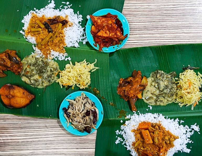 Banana leaf on the table used as a plate to serve food