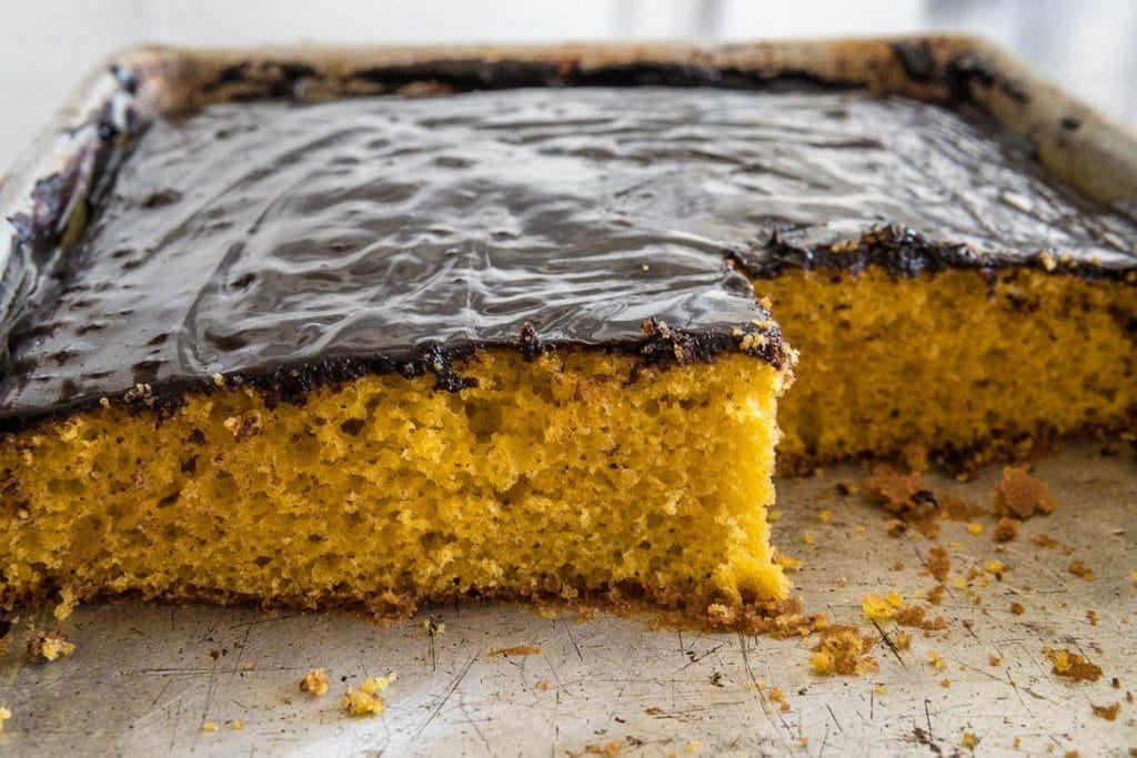 Traditionally Brazilian carrot cake is served directly in the cake pan