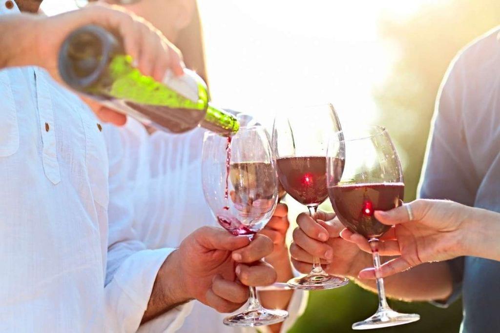 degustação do vinho nas vinhas como parte das atividades de enoturismo