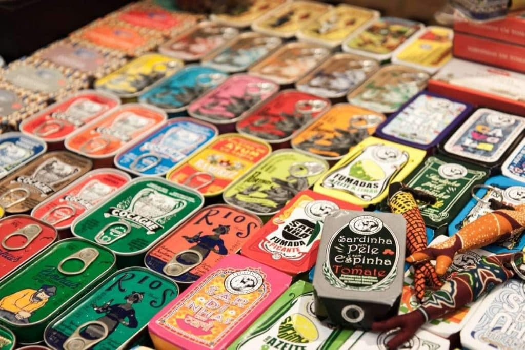 Different types of Portuguese canned fish and their colourful packaging