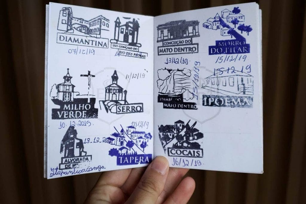 stamps on the royal road passport in Brazil