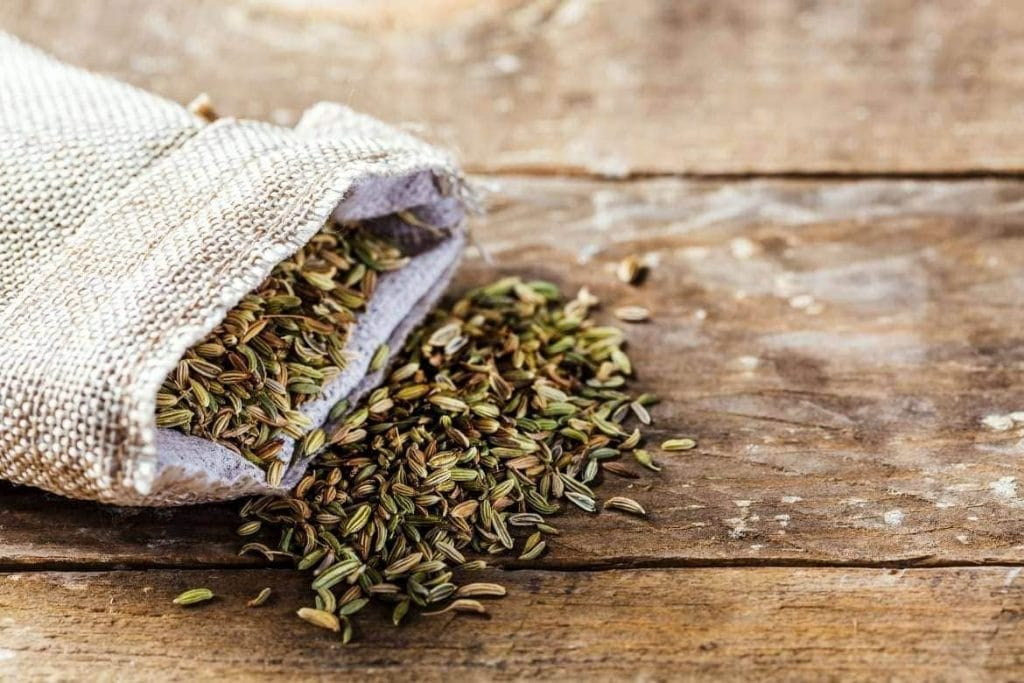 a bag with fennel seeds for making tea