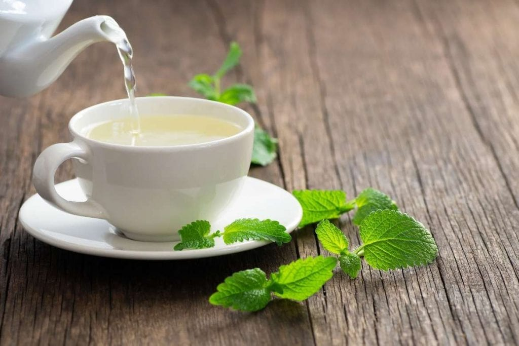 servindo chá de melissa