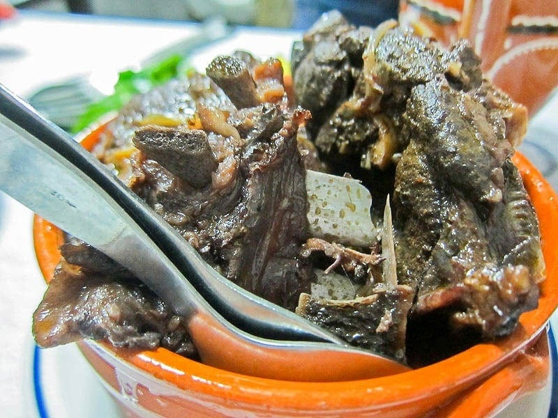 Chanfana is a typical Portuguese dish made from old goat meat with red wine